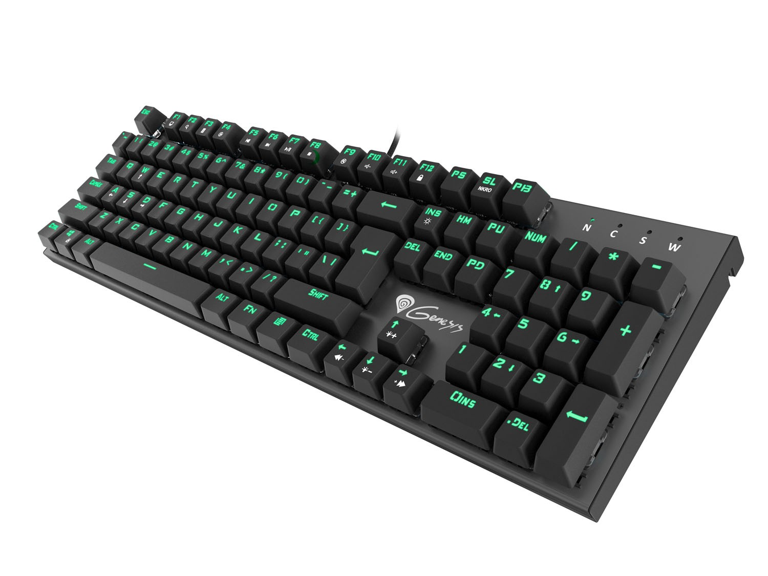 GENESIS THOR 300 US MECHANICAL KEYBOARD, GREEN BACKLIGHT, BLUE OETEMU SWITCH
