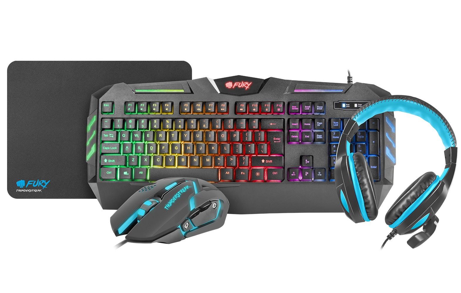 FURY THUNDERSTREAK KEYBOARD + MOUSE + HEADPHONES + MOUSEPAD GAMING COMBO SET 4 IN 1 (US LAYOUT)