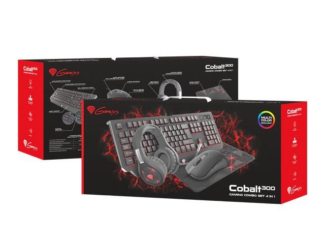 GAMING COMBO SET 4IN1 GENESIS COBALT 300 KEYBOARD + MOUSE + HEADPHONES + MOUSEPAD, US LAYOUT