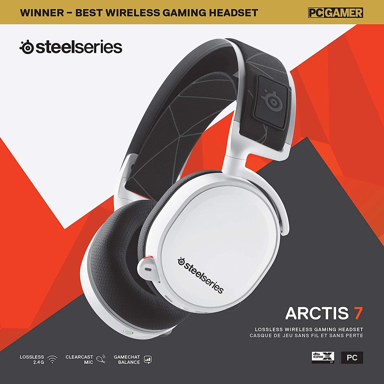 Steelseries Arctis 7 Baltos (2019 Edition) belaidės žaidimų ausinės