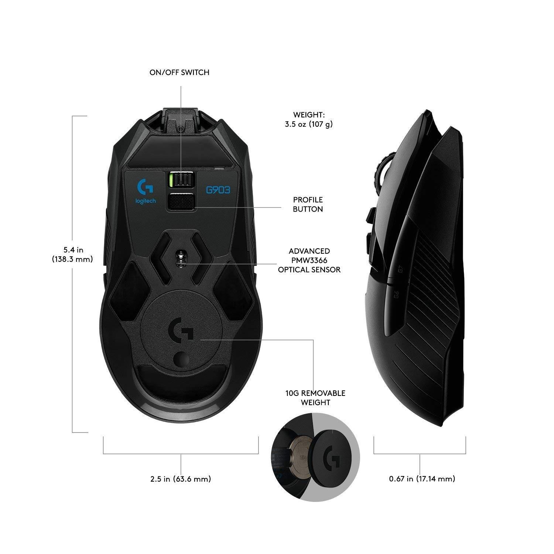 LOGITECH G903 LIGHTSPEED belaidė optinė pelė | 12000