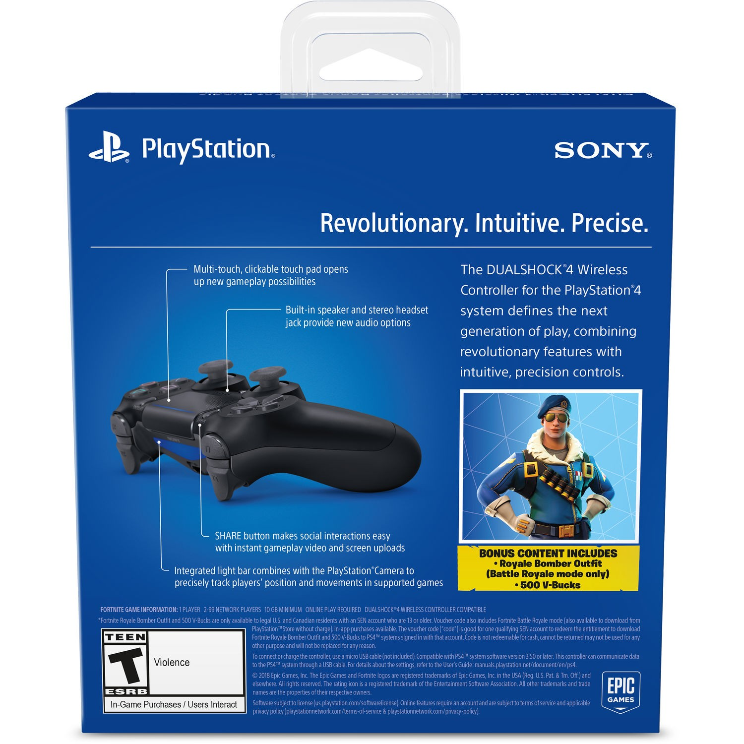 Sony PlayStation DualShock 4 V2 Controller - Jet Black Fortnite Bundle