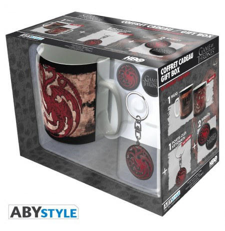 "GAME OF THRONES - Pck Mug + Keychain + Badges ""Targaryen"" gift box"