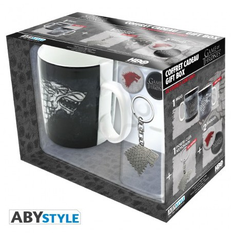 "GAME OF THRONES - Pck Mug + Keychain + Badges ""Stark"" gift box"