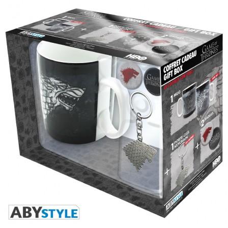 """GAME OF THRONES - Pck Mug + Keychain + Badges """"Stark"""" gift box"""
