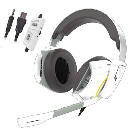 Gamdias Grey/White, Built-in microphone, 3.5 mm/USB, Stereo lighting gaming headset, Hephaestus E1