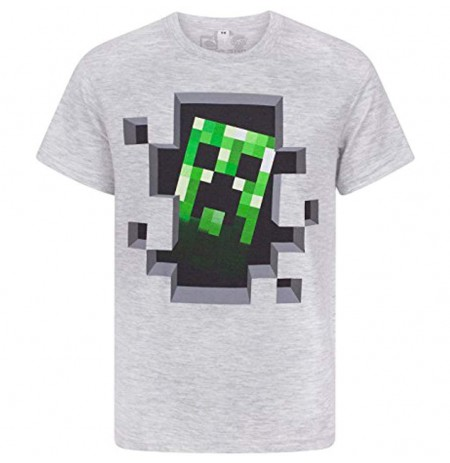 Minecraft Creeper Inside Men's Premium Silver T-Shirt (Medium)