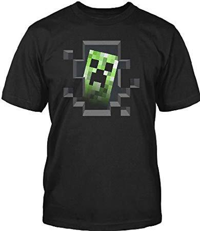 Minecraft Creeper Inside Men's Premium Black T-Shirt (Small)