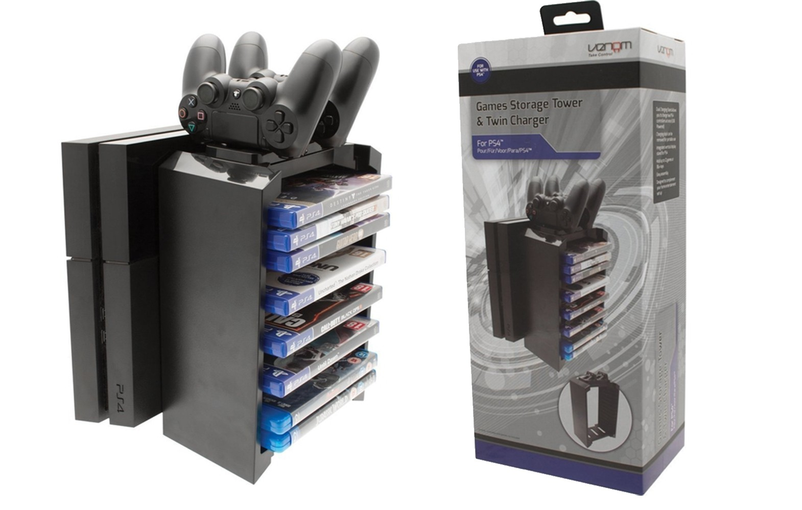 Venom 2 in 1 Games Storage Tower & Twin Charge For PS4