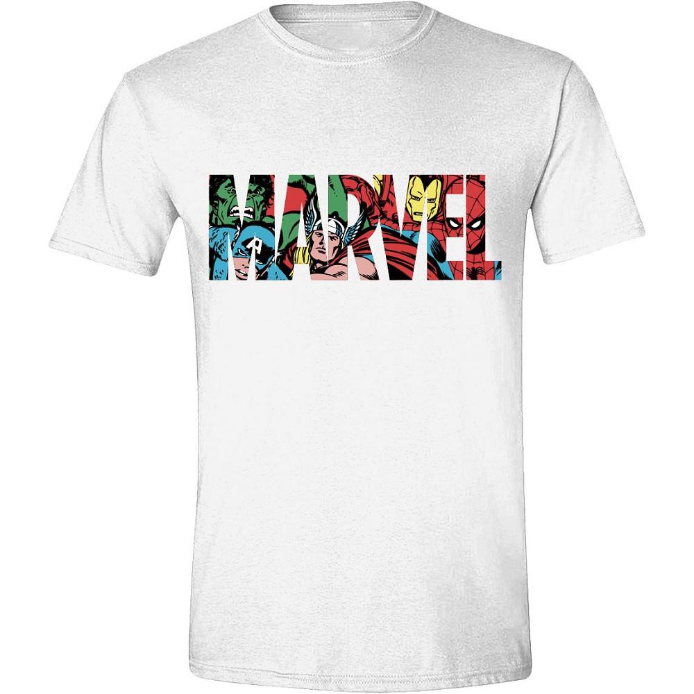 MARVEL - LOGO CHARACTERS MEN balti marškinėliai - M dydis