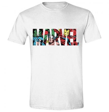 MARVEL - LOGO CHARACTERS balti vyriški marškinėliai - L dydis