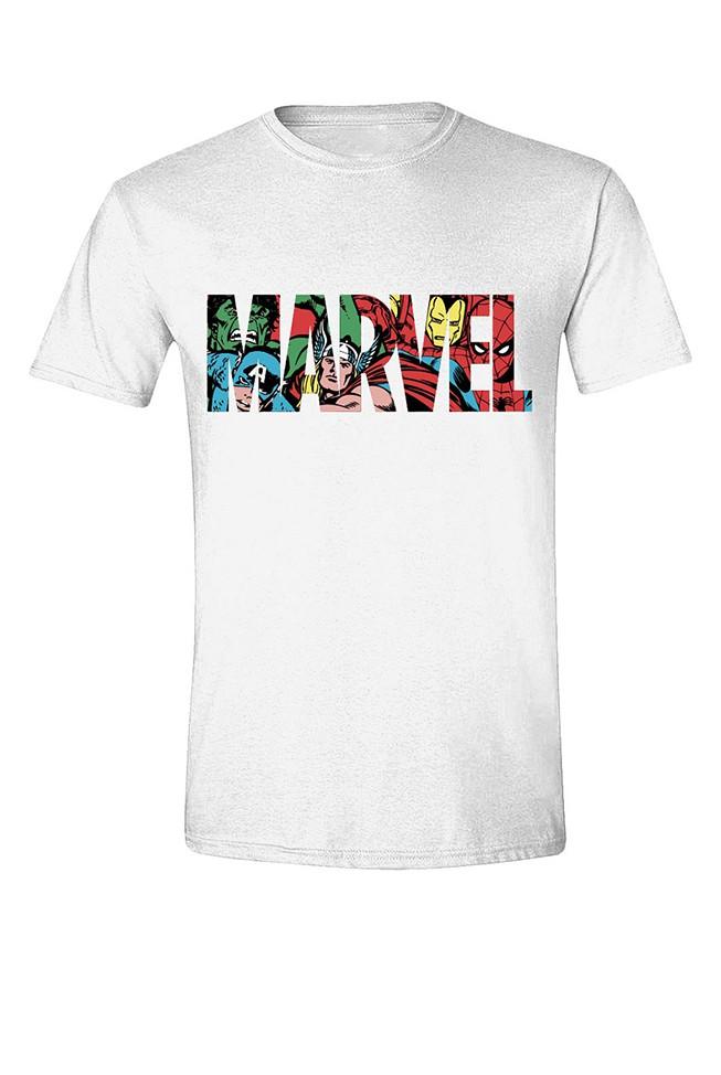 MARVEL - LOGO CHARACTERS balti vyriški marškinėliai - XL dydis