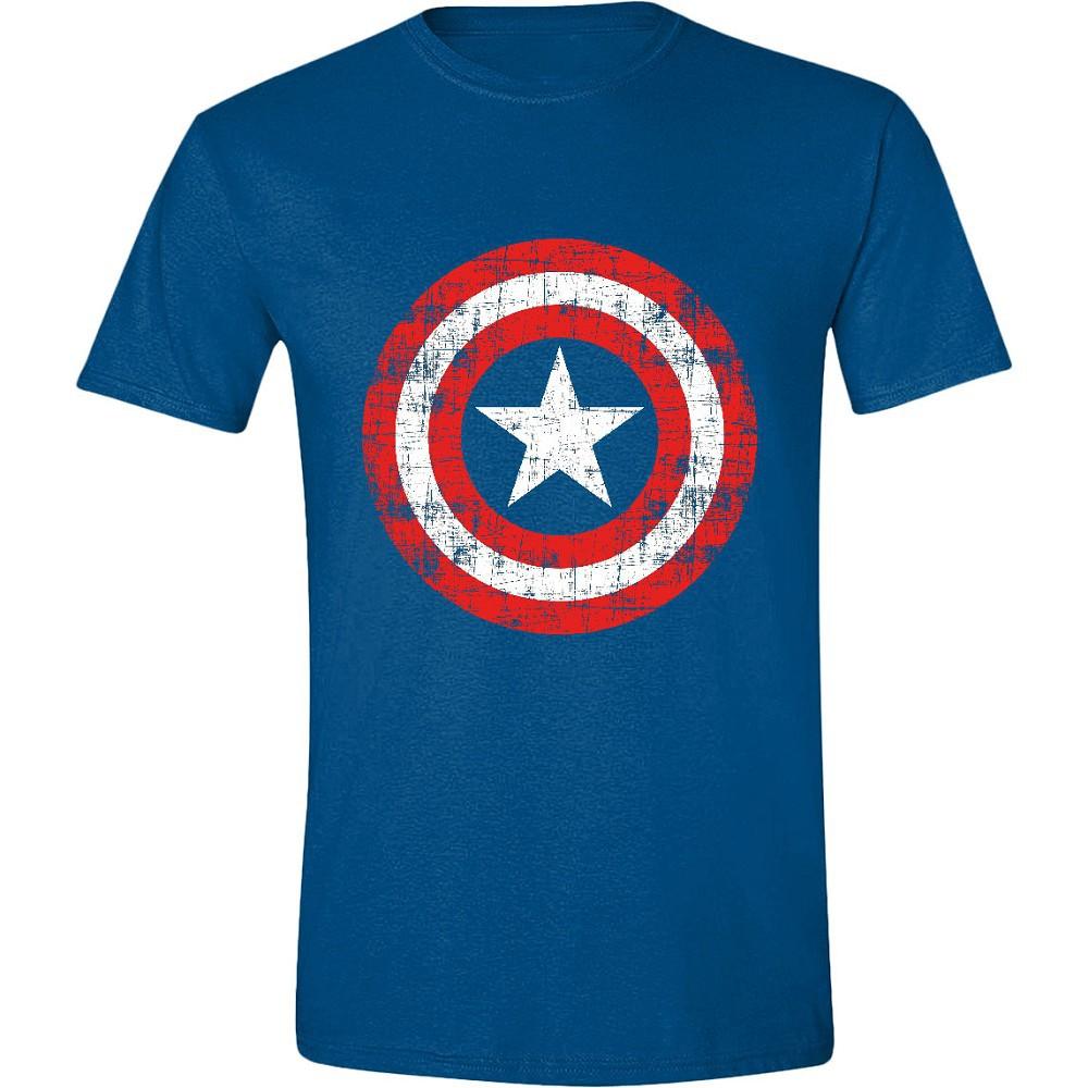 CAPTAIN AMERICA - CRACKED SHIELD mėlyni marškinėliai - M dydis