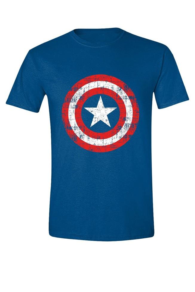 CAPTAIN AMERICA - CRACKED SHIELD mėlyni marškinėliai - L dydis