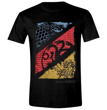 GAME OF THRONES - DIAGONAL SIGILS juodi marškinėliai - M dydis