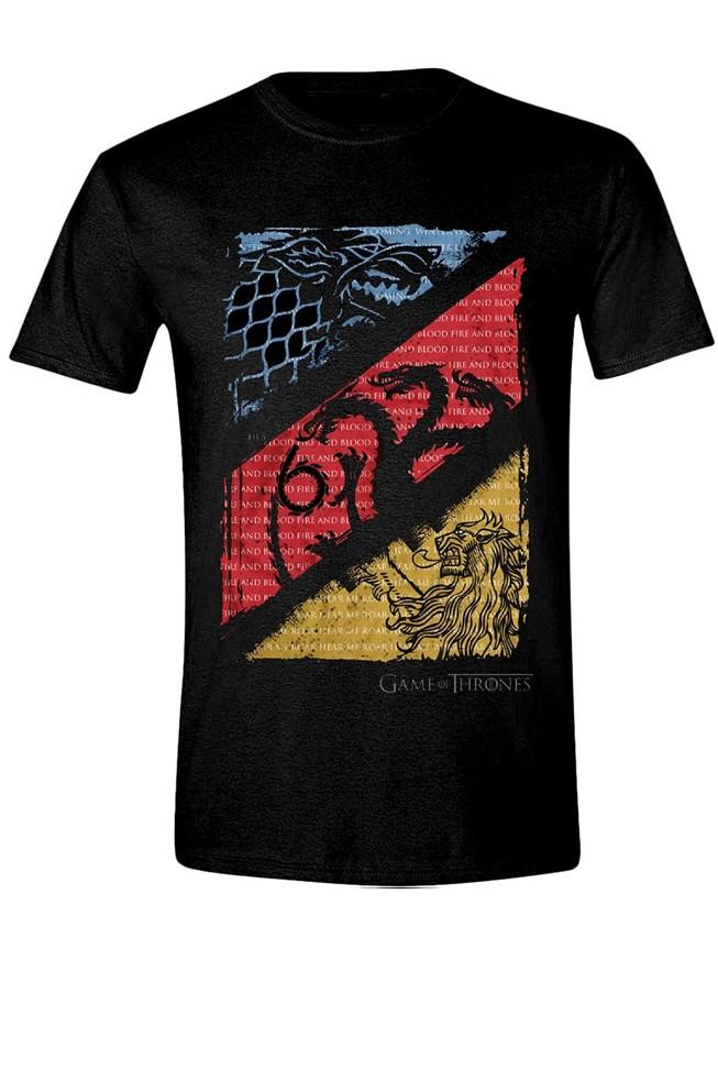 GAME OF THRONES - DIAGONAL SIGILS juodi marškinėliai - XL dydis