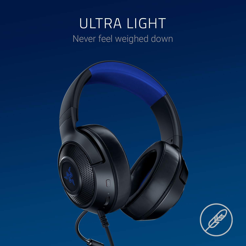 RAZER KRAKEN X FOR CONSOLE juodos-mėlynos laidinės ausinės su mikrofonu   3.5mm