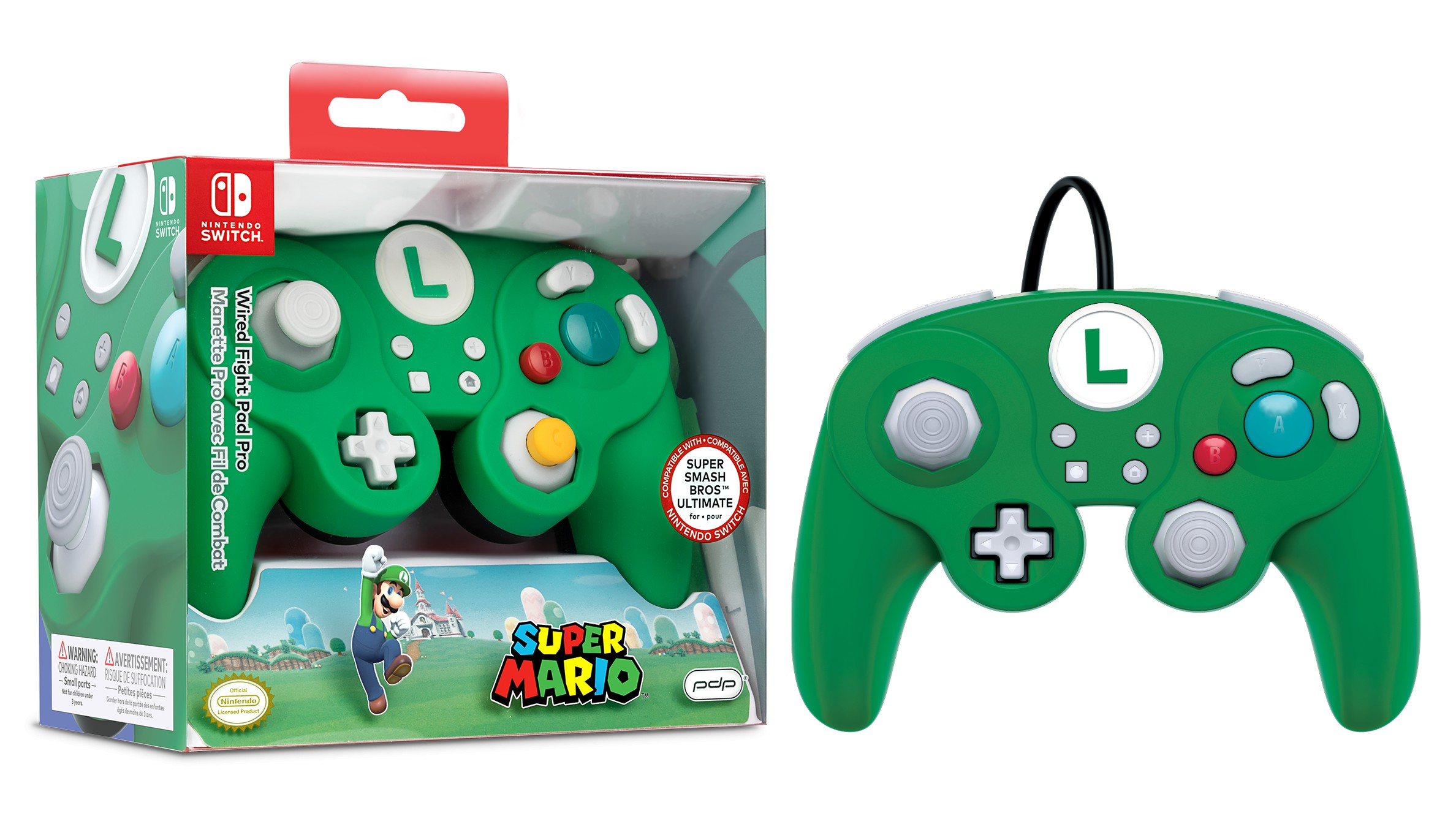 PDP Wired Fight Pad Pro - luigi For Nintendo Switch