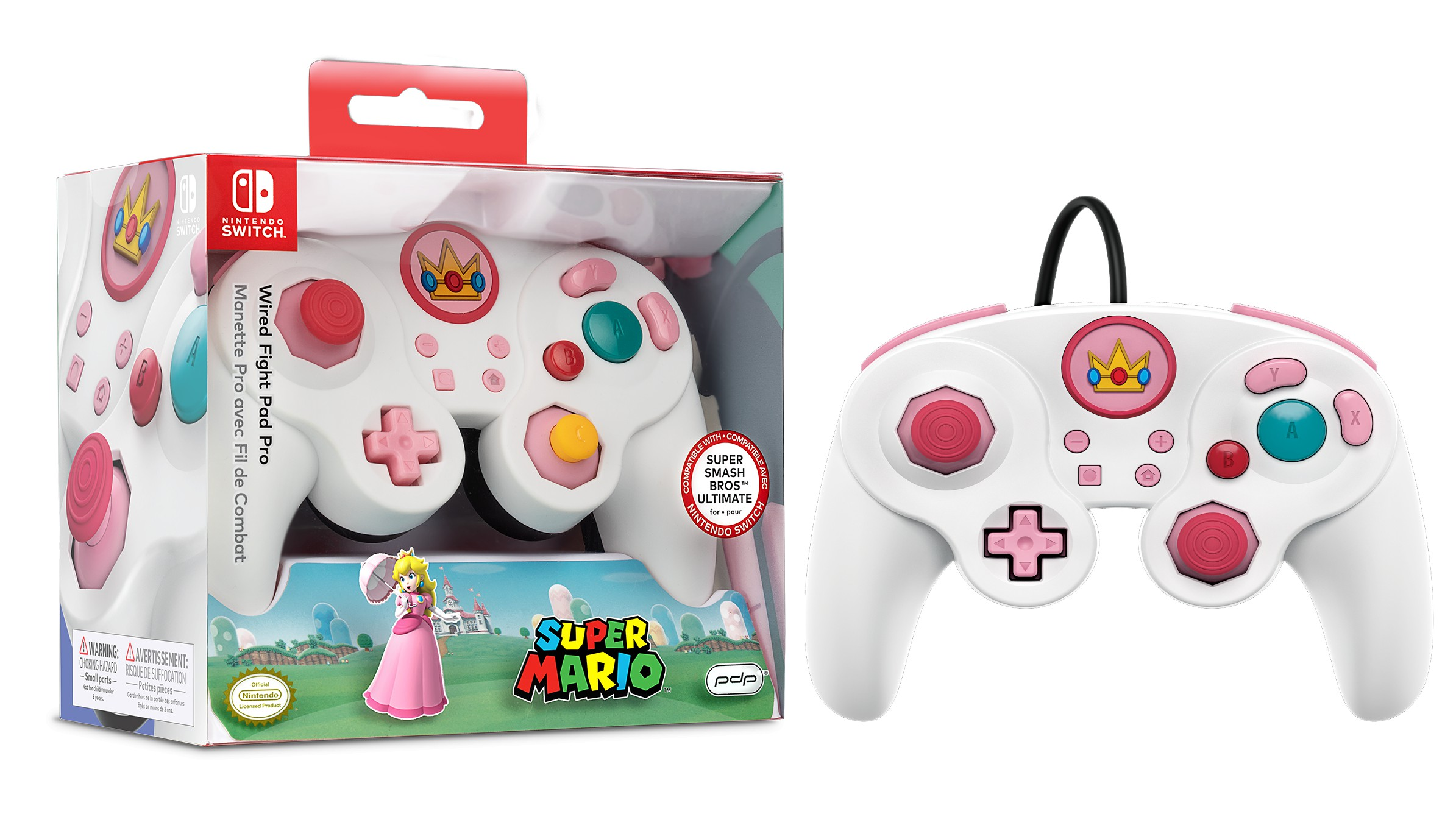 PDP Fight Pad Pro - Peach laidinis valdiklis skirtas Nintendo Switch