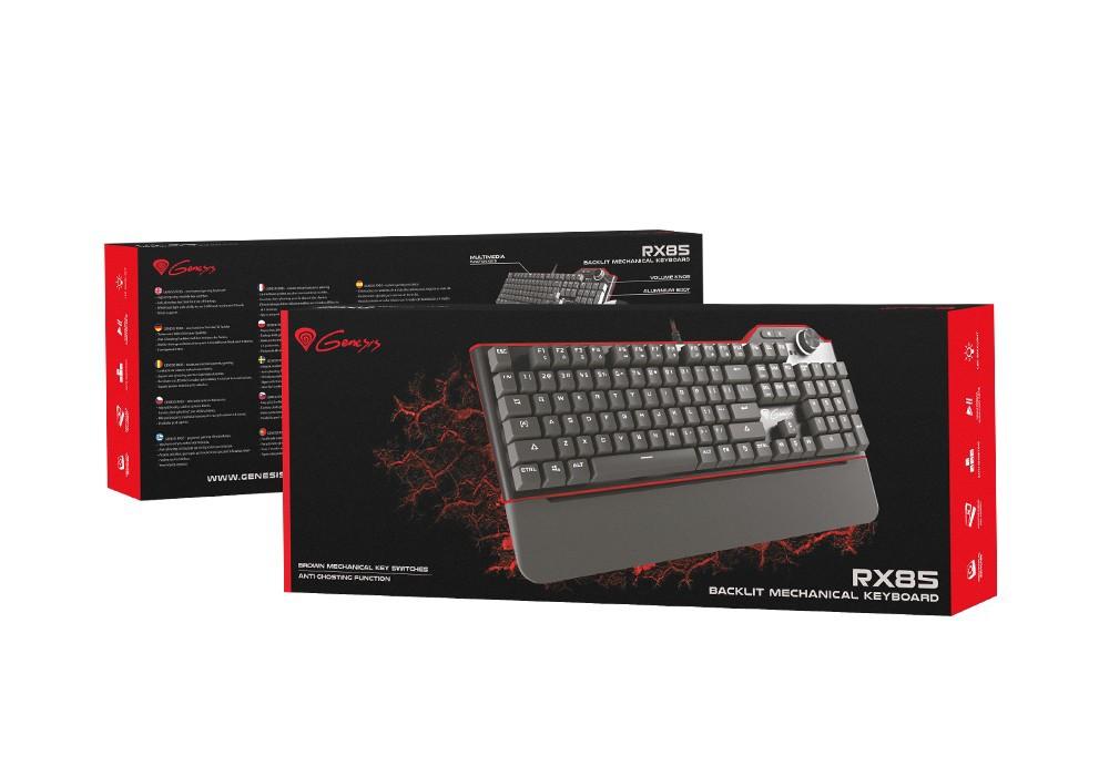 GENESIS RX85 mechaninė klaviatūra su baltu apšvietimu (US) (RED)