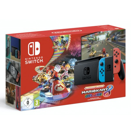 Nintendo Switch Mario Kart Deluxe 8 Bundle (with Neon Red and Neon Blue Joy- Con)
