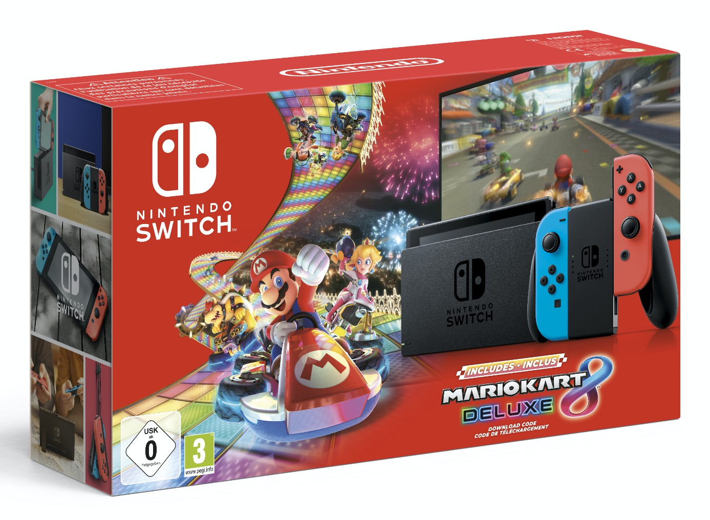 Nintendo Switch Mario Kart Deluxe 8 Bundle With Neon Red And Neon Blue Joy Con V 1 1