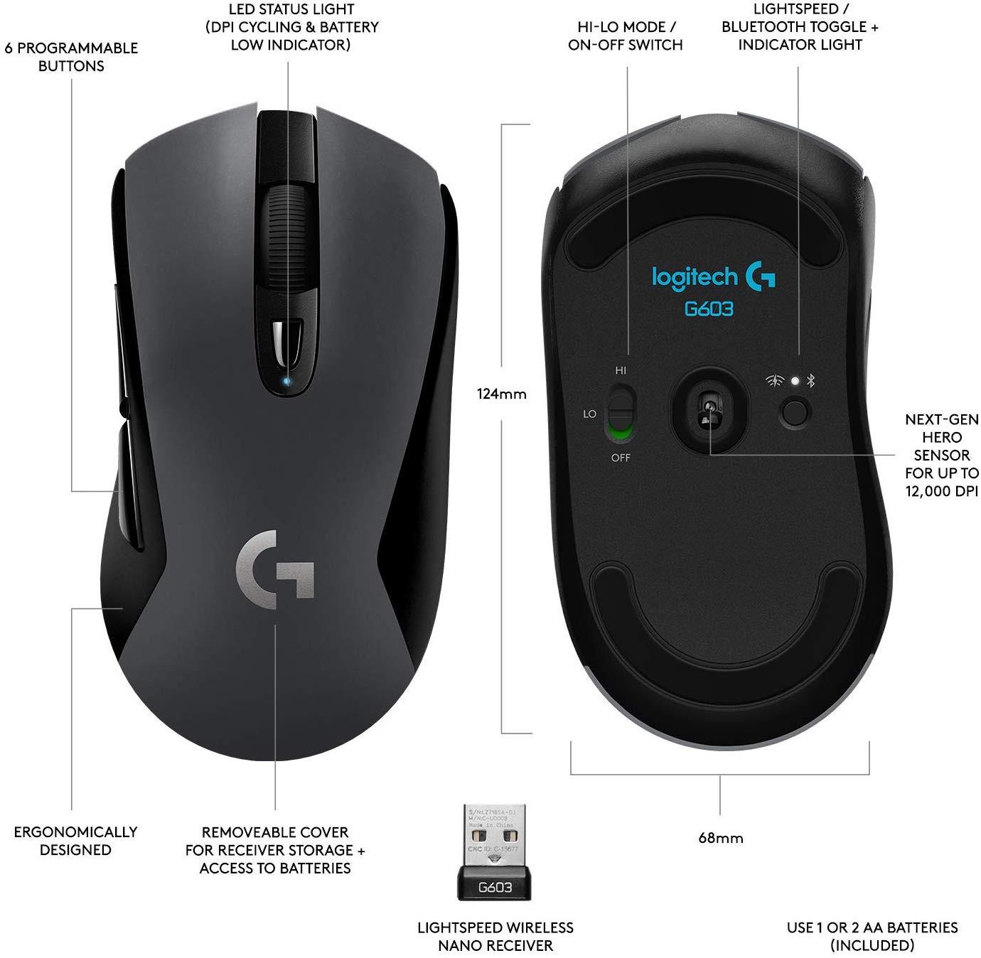 LOGITECH G603 LIGHTSPEED belaidė optinė pelė | 12000