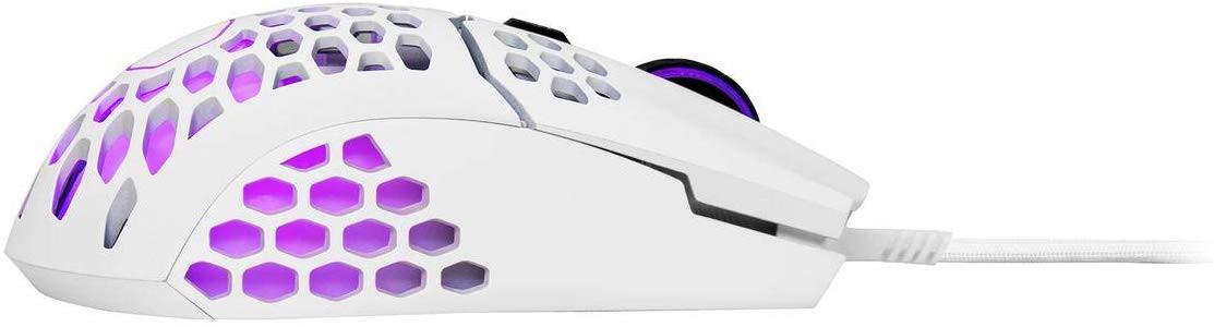COOLER MASTER MM711 matinė balta laidinė pelė su RGB | 16000DPI