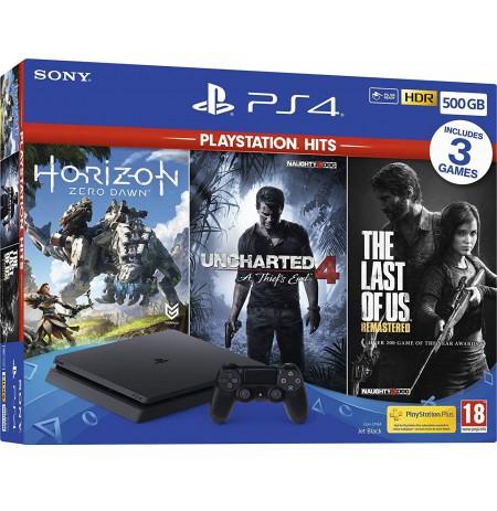Žaidimų konsolė SONY PlayStation 4 (PS4) Slim 500GB - Juoda + 3