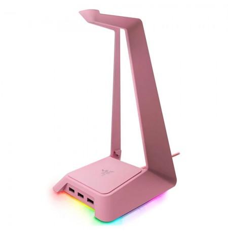 RAZER ausinių stovas su RGB apšvietimu ir USB jungtimis (Quarz Pink)