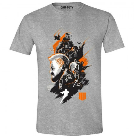 Call of Duty Black Ops 4 - Characters Montage Men T-Shirt - Heather Grey- M dydis