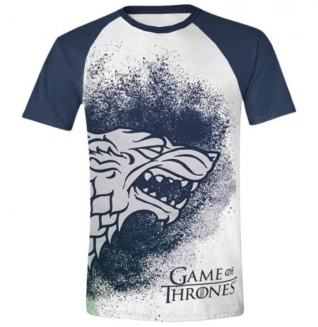 GAME OF THRONES - PAINTED STARK RAGLAN MEN T-SHIRT - WHITE-  Large