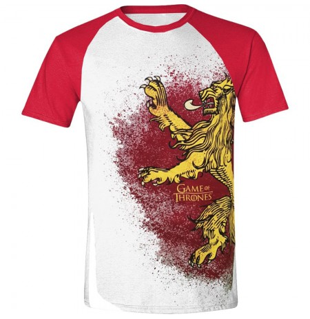 GAME OF THRONES - PAINTED LANNISTER RAGLAN MEN T-SHIRT - WHITE -  M dydis