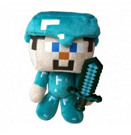 Plush toy Minecraft Steve with diamond sword| 12-17cm