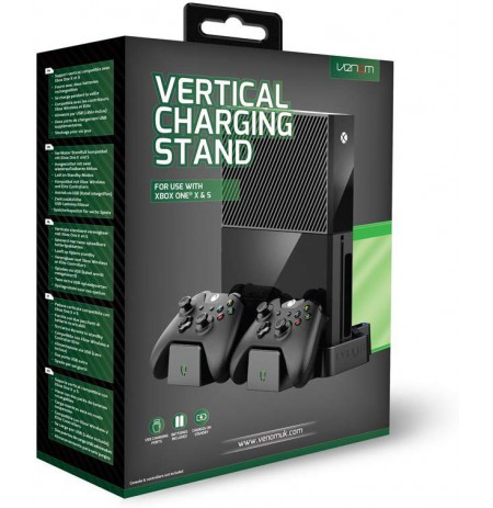 Venom Xbox One Vertical Charging Stand and Rechargeable Battery Twin Pack - Black (Xbox One)