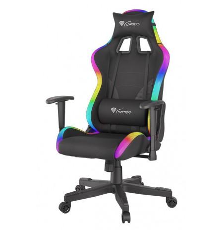 GENESIS TRIT 600 juoda ergonominė kėdė su RGB