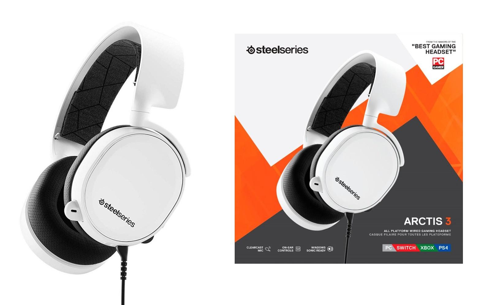 Steelseries Arctis 3 Baltos (2019 Edition) žaidimų ausinės | 3.5mm
