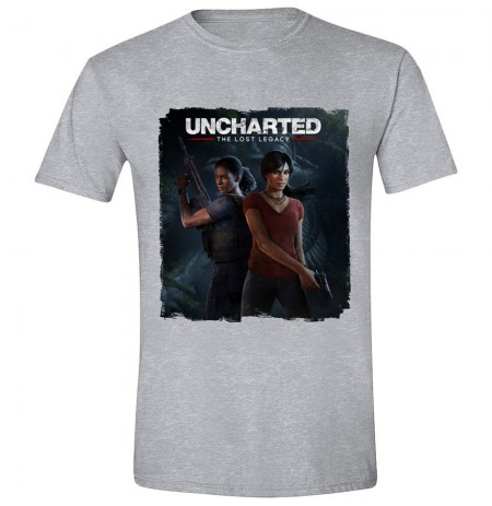 UNCHARTED - THE LOST LEGACY LOGO pilki marškinėliai - L dydis