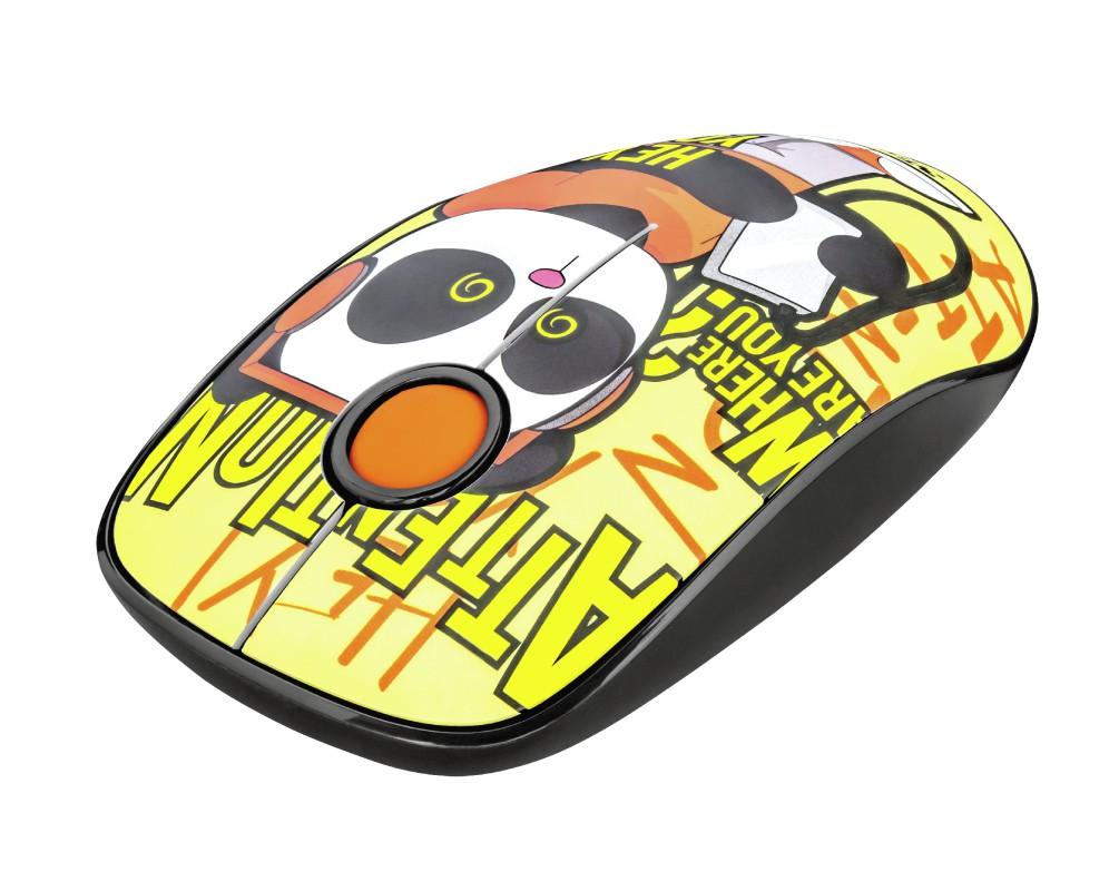 TRUST Sketch Silent Click geltona belaidė pelė   1600 DPI
