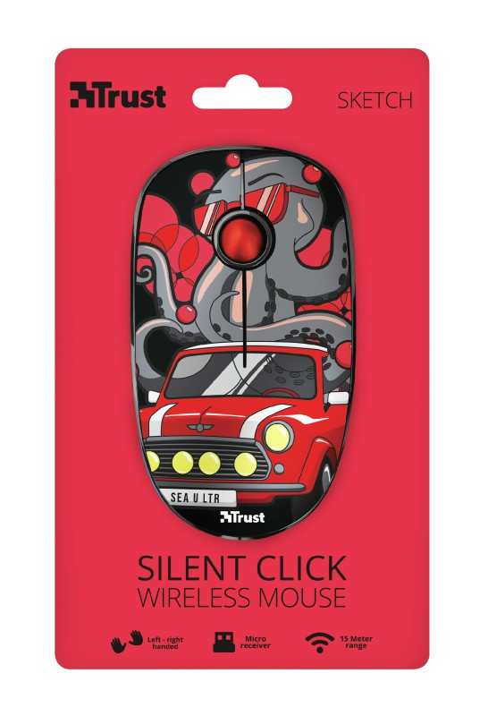 TRUST Sketch Silent Click raudona belaidė pelė | 1600 DPI