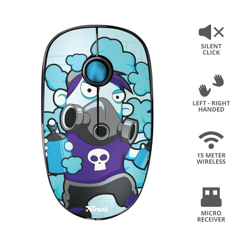 TRUST Sketch Silent Click mėlyna belaidė pelė | 1600 DPI