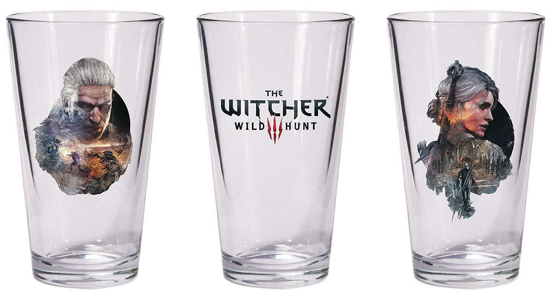 The Witcher 3 Wild Hunt Glass Set Geralt & Ciri Pint stikliukai