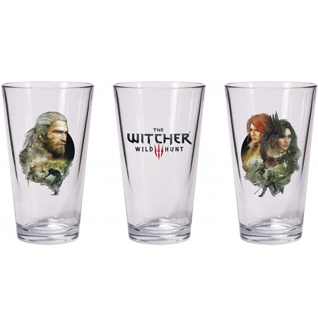 The Witcher 3: Wild Hunt - Geralt & Triss with Yeneffer Pint stikliukai