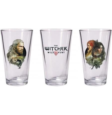 The Witcher 3: Wild Hunt - Geralt & Triss with Yeneffer Pint stikliukai