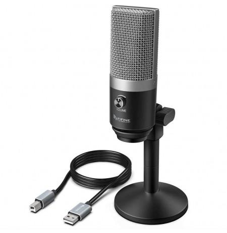 FIFINE K670 sidabrinis kondensatorinis mikrofonas | USB