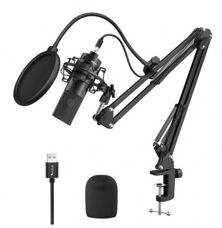 FIFINE K780 juodas kondensatorinis mikrofonas su laidu + laikiklis | USB