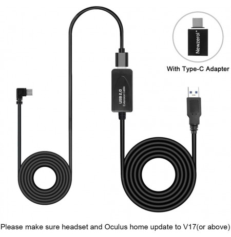 NEWZEROL 4M +10M USB Data Sync Cable for Oculus Quest Link Steam VR Extension Cable with Relay Amp Chip