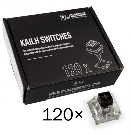 Glorious PC Gaming Race Kailh Box Black Switches   Linear & Silent (120 pcs)