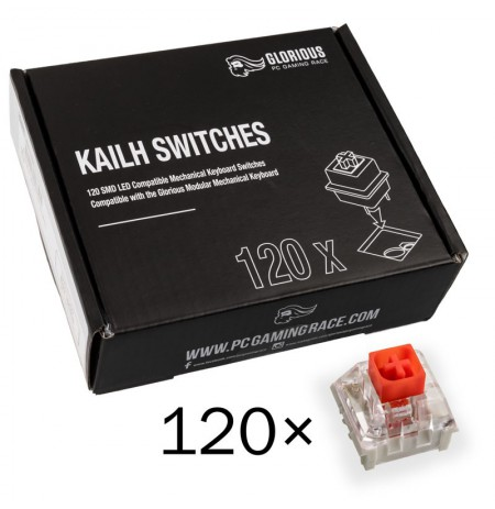 Glorious PC Gaming Race Kailh Box Red switchai | Linear & Silent (120 vnt)