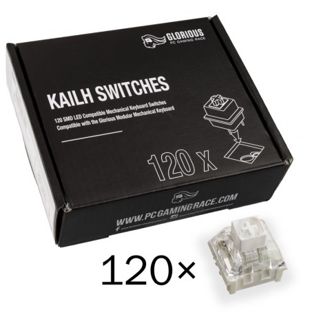 Glorious PC Gaming Race Kailh Box White Switches | Tactile & Clicky (120 pcs)